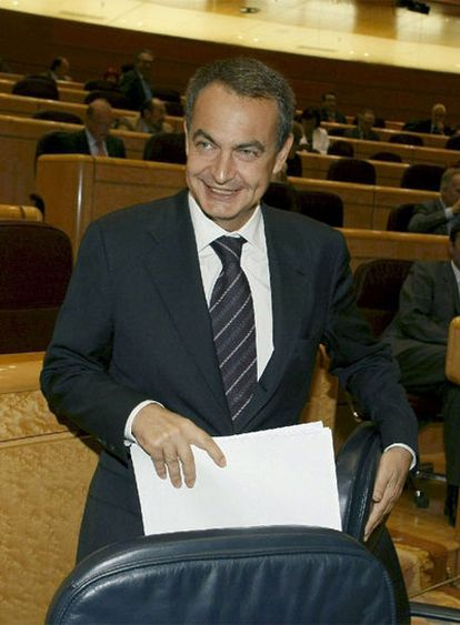Rodríguez Zapatero, ayer en el Senado.