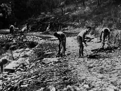 Refugiados republicanos españoles construyen una carretera en Argelés-Sur-Mer en marzo de 1941. En vídeo, los testimonios de Rosy Gómez y Antoine Parra.