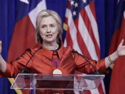 La candidata demócrata durante su discurso en Texas.