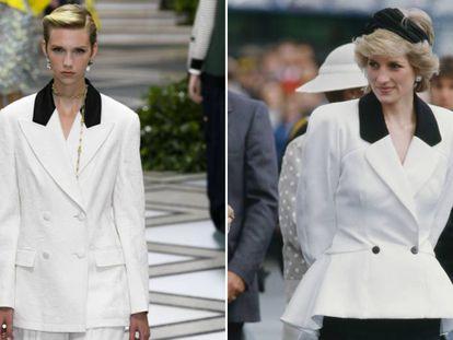 A la izquierda, una modelo del desfile de Tory Burch, y a la derecha. Diana de Gales en una visita a Canadá, en 1986.