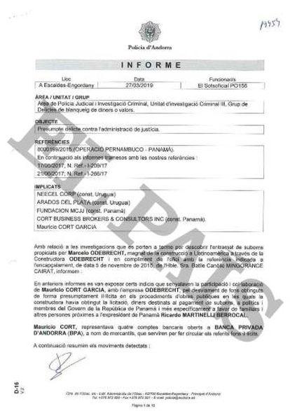 Informe de la Policía de Andorra fechado el pasado 27 de marzo sobre el abogado Mauricio Cort, FCC y Odebrecht.