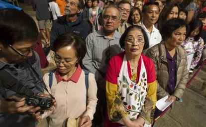 Peregrinos asiáticos en la Catedral de Santiago.