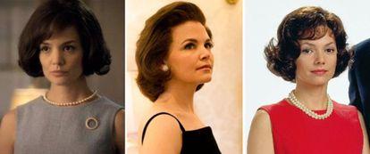 De izquierda a derecha: Katie Holmes, Ginnifer Goodwin y Joanne Whalley interpretan a Jackie Kennedy.