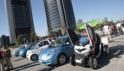 Exposición de vehículos eléctricos, en Madrid.