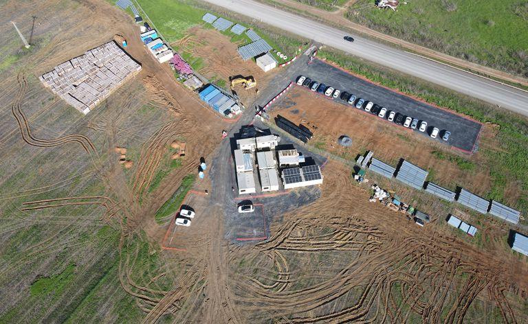 Vista aérea del emplazamiento de la futura planta fotovoltaica de San Antonio (Hueva).
