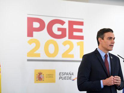 El presidente del Gobierno, Pedro Sánchez, durante el acto de presentación de los Presupuestos Generales del Estado para 2021, este martes.