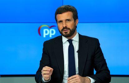 El presidente del Partido Popular, Pablo Casado, ofrece una rueda de prensa tras la reunión del Comité de Dirección, este lunes en la sede del partido.