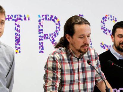 Errejón, Iglesias y Espinar anuncian una candidatura de unidad para la Comunidad de Madrid.
