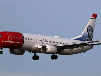 Un Boeing 737-800 de la aerolínea Norwegian.