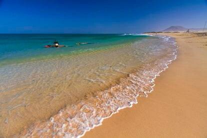 Una playa de Corralejo, en el norte de Fuerteventura.