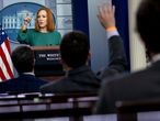 Washington (United States), 27/04/2021.- Jen Psaki, White House press secretary, speaks during a news conference in the James S. Brady Press Briefing Room at the White House in Washington, DC, USA, 27 April 2021. (Estados Unidos) EFE/EPA/Stefani Reynolds / POOL