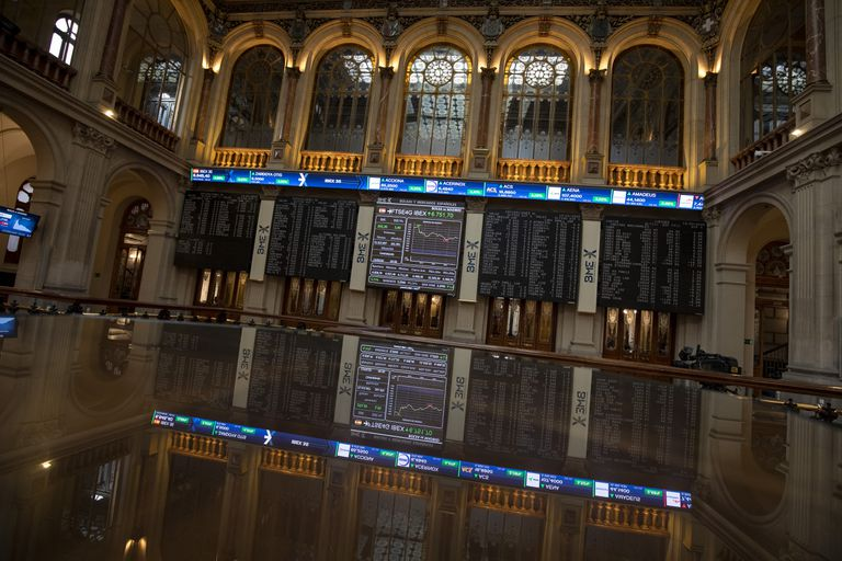 Patio de la Bolsa de Madrid el pasado 13 de marzo.