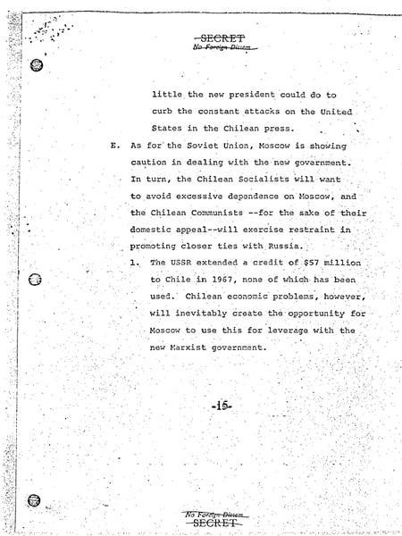 La última página del segundo documento desclasificado del Consejo de Seguridad Nacional de EE UU que describe la relación entre el Gobierno de Allende y la Unión Soviética.