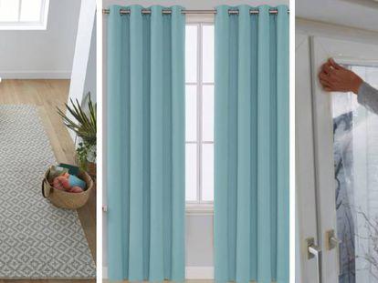 De izquierda a derecha, una alfombra de tuft de lana, unas cortinas térmicas aislantes frío-calor y una cortina aislante con cierre magnético para puertas.