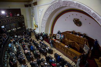 Vista general del hemiciclo de las sesiones de la Asamblea Nacional, en Caracas, este martes.