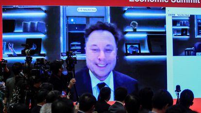 Elon Musk, director general de Tesla, durante el China Development Forum celebrado el 20 de marzo en Pekín.