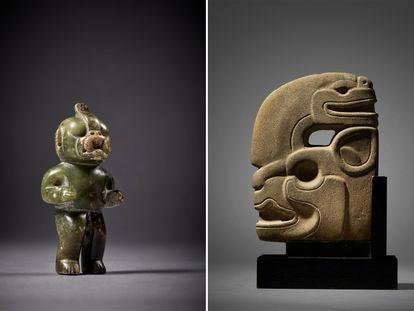 Una figura olmeca de piedra (izquierda) y una efigie maya en subasta en la casa Sotheby's.