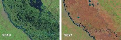 Imágenes satelitales que muestran el avance de la sequía en una comparativa entre 2019 y la actualidad. El pronóstico no es alentador: el Instituto Nacional del Agua prevé que la sequía empeorará de aquí a septiembre.