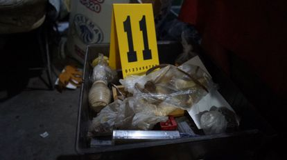 Bone remains found this Tuesday in a home in Atizapán, Mexico.