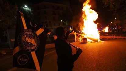 Protestas en Barcelona hace un año, ante inhabilitación de Quim Torra.