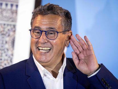 El presidente del RNI, Aziz Ajanuch, bromeaba este jueves durante la rueda de prensa que ofreció en Rabat.