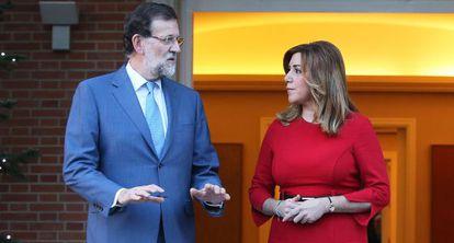 Rajoy recibe a la presidenta de Andalucia.