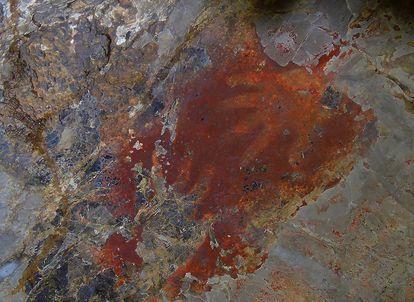 Pintura rupestre hallada en la cueva de Lena Hara (Timor Oriental) por el equipo de Marcos García-Díez