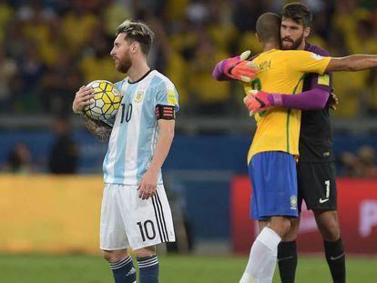 Messi al término del Brasil-Argentina.