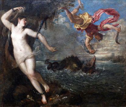 'Perseo y Andrómeda', de Tiziano, una de la seis 'poesías' que se pueden ver en la exposición 'Pasiones mitológicas'.
