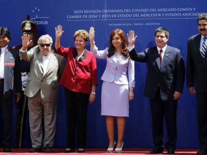 Foto de los presidentes en Paraná (Argentina).