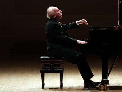 Maurizio Pollini, durante un concierto en el Carnegie Hall de Nueva York en 2019.