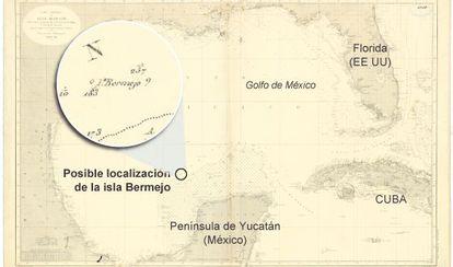 "Mapa de 1866 donde está señalada la isla Bermeja ""Seno mexicano. Hija 1. Parte meridional""."
