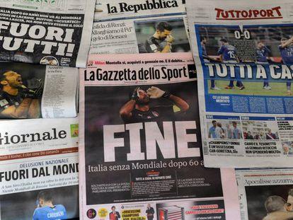La prensa italiana el día después de no clasificar al Mundial.