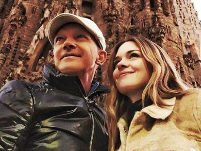 Antonio Banderas y su hija Stella del Carmen en Barcelona.