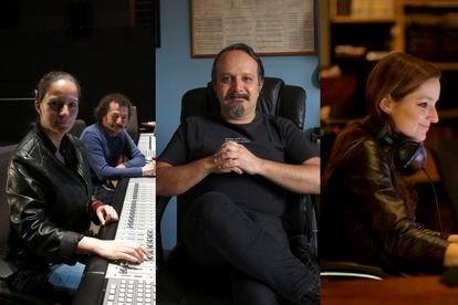 Michelle Couttolenc y Jaime Baksht (izquierda), Carlos Cortés (centro) y Carolina Santana, sonidistas de la película 'Sound of Metal'.