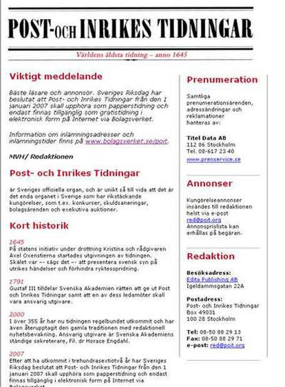 Captura de la web del 'Post Och Inrikes Tidningar', el diario más antiguo del mundo.