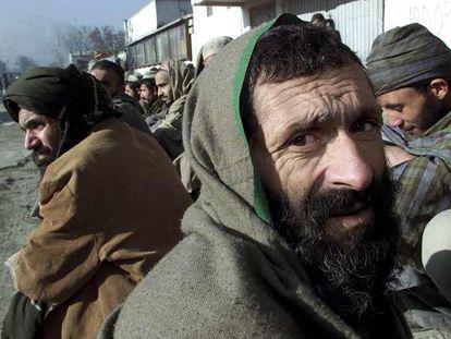 Ex presos talibanes en Kabul.