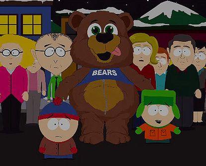 Mahoma, disfrazado de oso en el capítulo 200 de South Park.