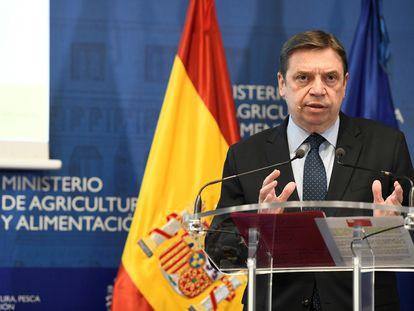 El ministro de Agricultura, Pesca y Alimentación, Luis Planas, durante la presentación del Informe de Consumo Alimentario en España 2019, este jueves en Madrid.