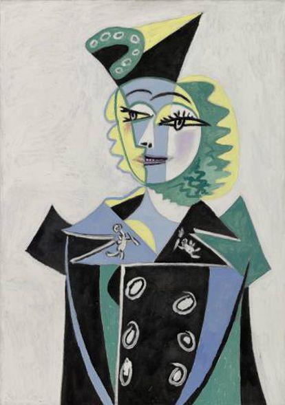 Retrato de Pablo Picasso 1937 de de Nusch Éluard, en el que la esposa del poeta surrealista vestía uno de los conjuntos de Shiaparelli.