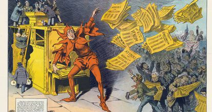 La prensa amarilla, de M. Slackens, en el que se muestra a W. Randolph Hearst como un bufón que reparte periódicos. Publicado por Keppler & Schwarzmann en 1910.
