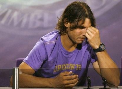 Rafael Nadal, durante la rueda de prensa en la que ha anunciado que no participará en Wimbledon