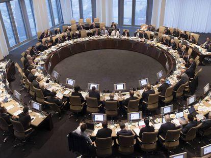 Reunión del consejo de gobierno del BCE en 2017.