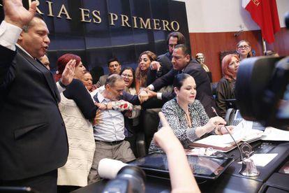 La toma de protesta de Rosario Piedra en el Senado mexicano.