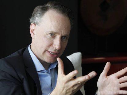 Thomas Buberl, consejero delegado de AXA, durante la entrevista en Madrid.