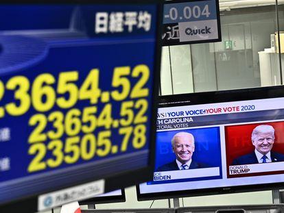 Un panel de la Bolsa de Tokio, la pasada madrugada.