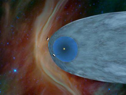 Recreación de la entrada de Voyager 1 y 2 en el medio interestelar.
