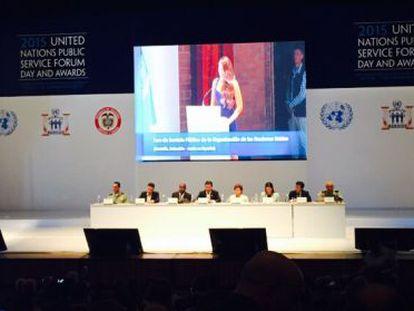 Acto de las Naciones Unidas en Medellín (Colombia), donde han sido premiados Emakunde e Irekia.