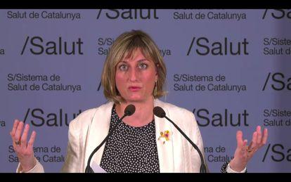 La consejera de Salud de la Generalitat, Alba Vergés, en rueda de prensa telemática, el pasado día 24.