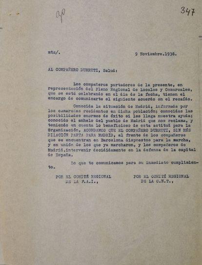 Nota de la CNT-FAI ordenando la marcha de Durruti a Madrid.